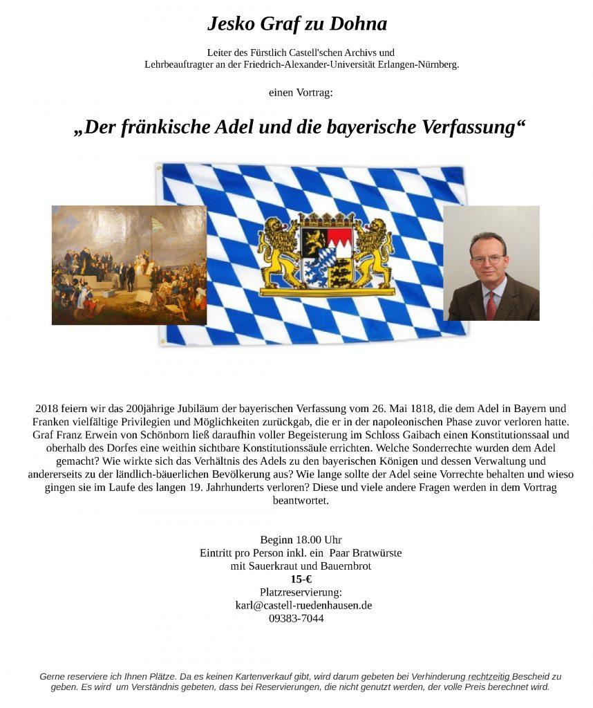 Vortrag Graf zu Dohna Fränkischer Adel und Bayerische Verfassung